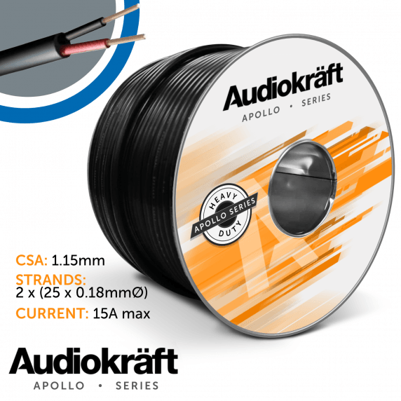 AudioKraft Apollo Series | High-Performance Outdoor Speaker Cable (Black) - 100m Drum