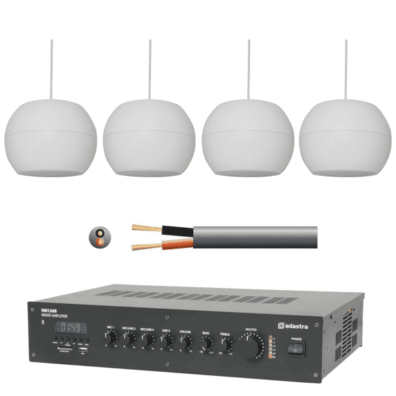 Background Music & PA System with 4 Suspended Pendant Speakers (White)