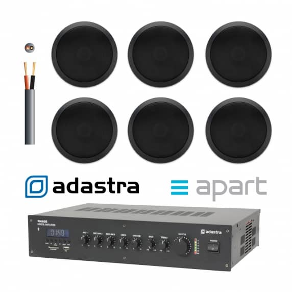 Background Music Sound System - 6 x Black Ceiling Speakers