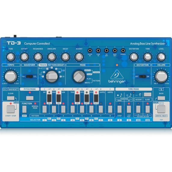Behringer TD-3 Analog Bass Line Synthesizer - Transparent Blue