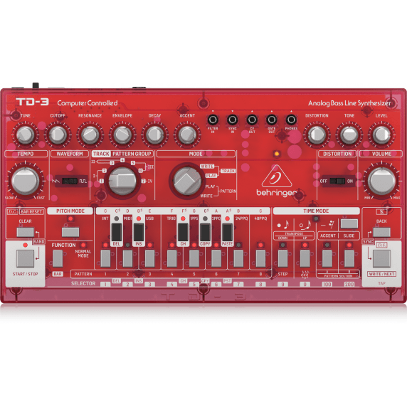 Behringer TD-3 Analog Bass Line Synthesizer - Transparent Red