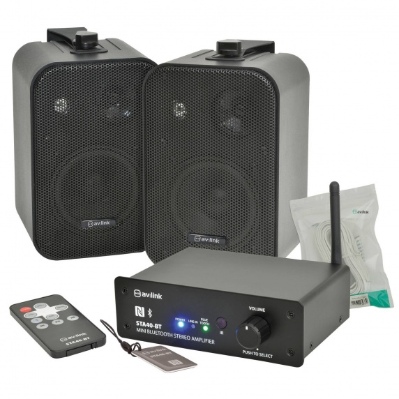 Bluetooth Background Music System - Black Speakers