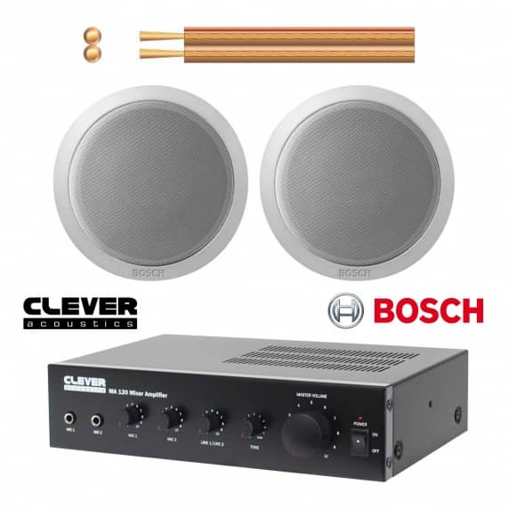 Bosch Small Background Music System 2 X Ceiling Speakers