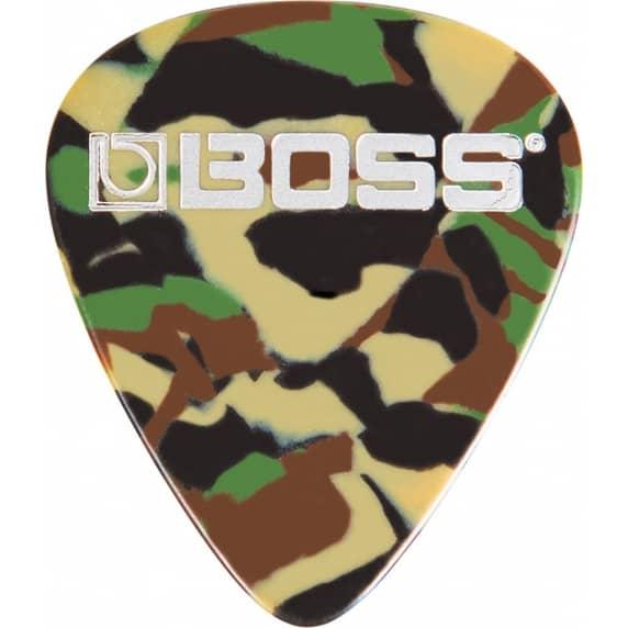 BOSS Heavy Celluloid Guitar Pick / Plectrum - Camo Colour (Pack of 12)