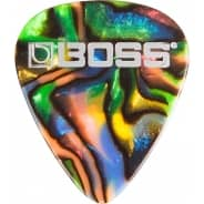 BOSS Medium Celluloid Guitar Pick / Plectrum - Abalone Colour (Pack of 12)