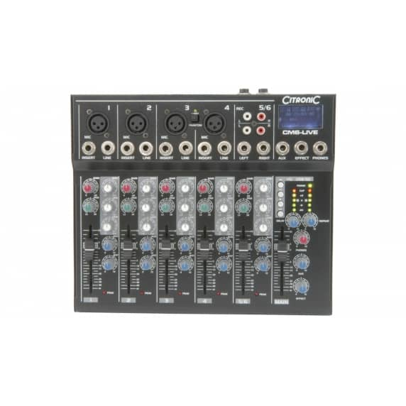 Citronic CM6-LIVE 6-Channel Mixer with Delay & USB/SD Player
