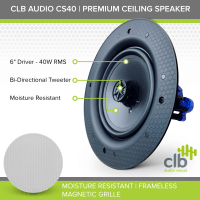 CLB Audio CS40 Premium Ceiling Speaker | 40W RMS, 8 Ohm
