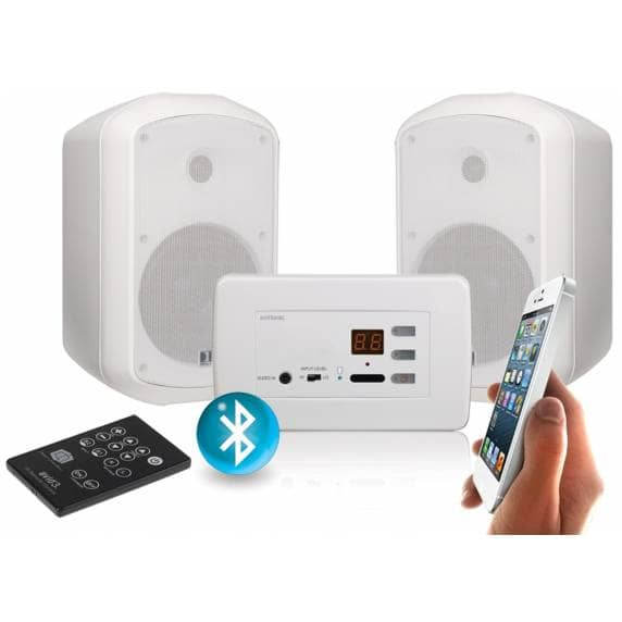 CLB In-wall Stereo Bluetooth Amplifier (2 x 15W) & 2x Wall Speakers (30w)