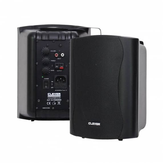 Clever Acoustics ACT 35 Stereo Active Wall Speakers, Black (Pair)
