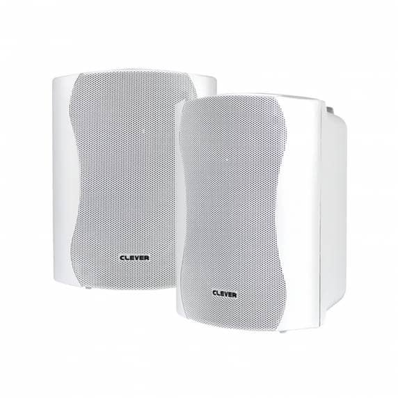 Clever Acoustics WPS 25T White 100V Weatherproof Wall Speakers (PAIR)