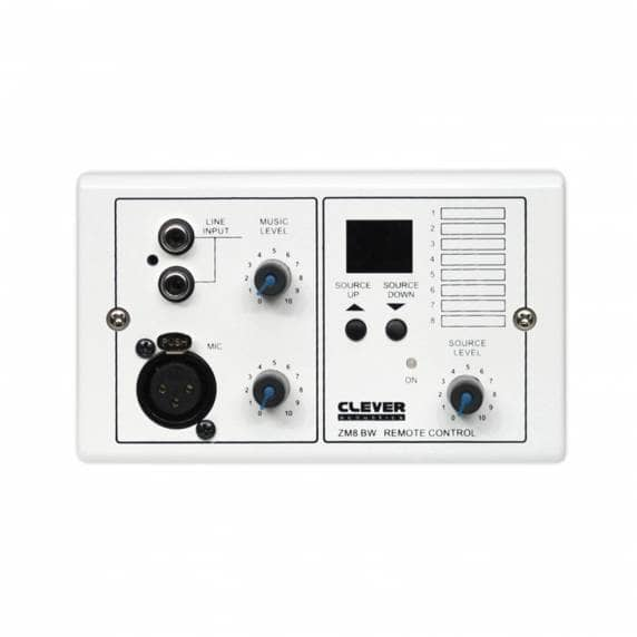 Clever Acoustics ZM 8 BW Wall Plate - Audio Input + Source Select