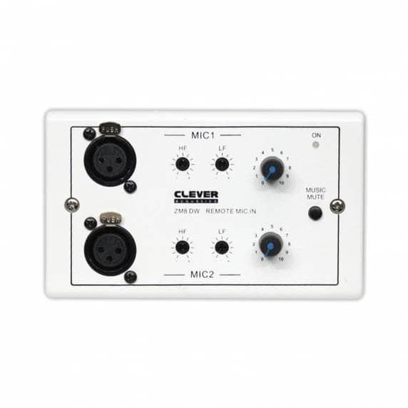 Clever Acoustics ZM 8 DW Wall Plate - Two Remote Microphone Inputs