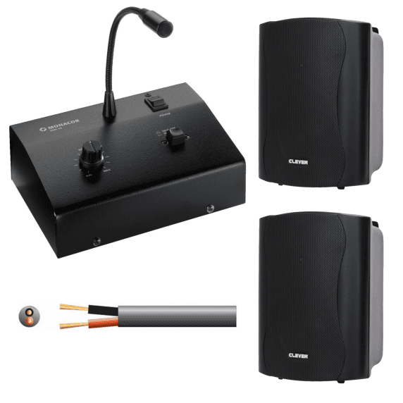 Desktop Paging Microphone System with 2x Weatherproof Wall Speakers