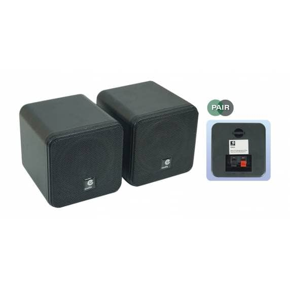 E-Audio B406A Compact 80W Black Cube Speakers (Pair) - B Stock