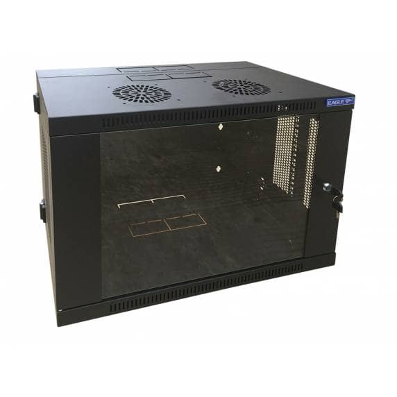 Eagle 9U Rack Cabinet with Hinged Back and Glass Locking Door