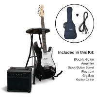Encore Electric Guitar Kit & Stool Bundle (Black)