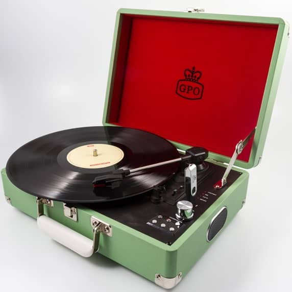 GPO Attaché Suitcase Record Player USB Turntable in Apple Green