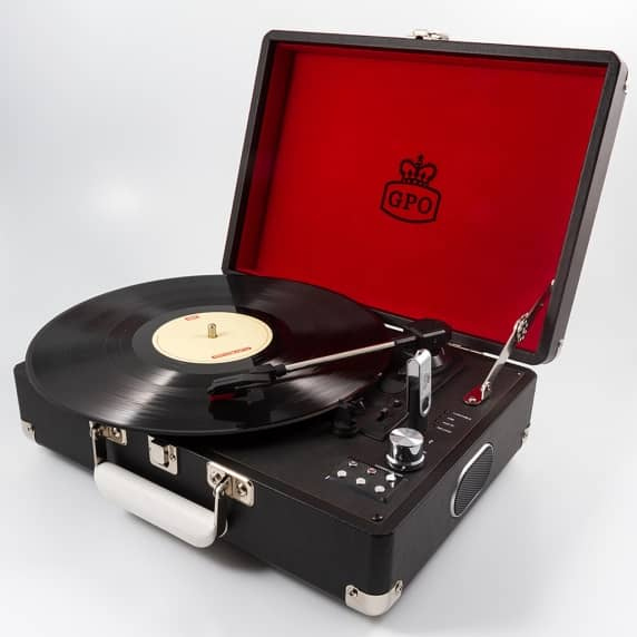GPO Attaché Suitcase Record Player USB Turntable in Black