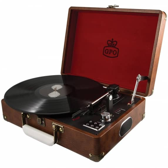 GPO Attaché Suitcase Record Player USB Turntable in Brown