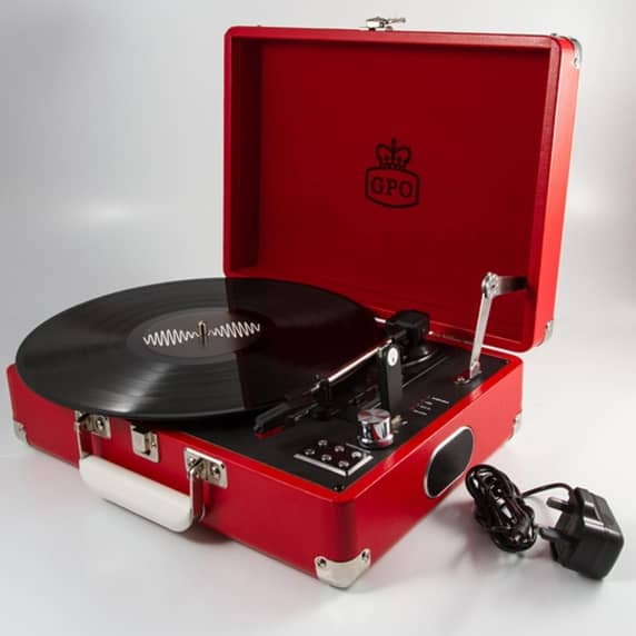GPO Attaché Suitcase Record Player USB Turntable in Red