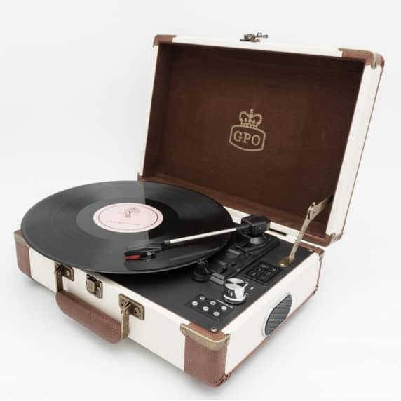 GPO Retro Ambassador Brief Case Turntable - Cream and Tan