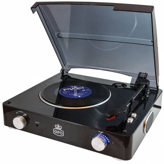GPO Stylo Record Player USB Turntable Piano Black
