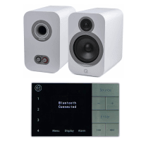 Home Music System with Systemline E100 & Q Acoustics 3030i Speakers - Arctic White