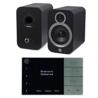 Home Music System with Systemline E100 & Q Acoustics 3030i Speakers - Carbon Black