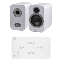 Home Music System with White Systemline E50 & Q Acoustics 3030i Speakers - Arctic White