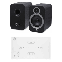 Home Music System with White Systemline E50 & Q Acoustics 3030i Speakers - Carbon Black
