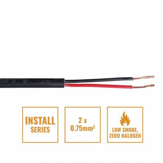 Install Series 2-Core LSZH Speaker Cable, 2 x 0.75mm - Per Metre Black