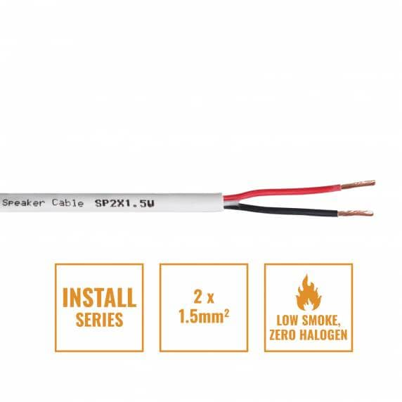 Install Series 2-Core LSZH Speaker Cable, 2 x 1.5mm - 100m Drum White