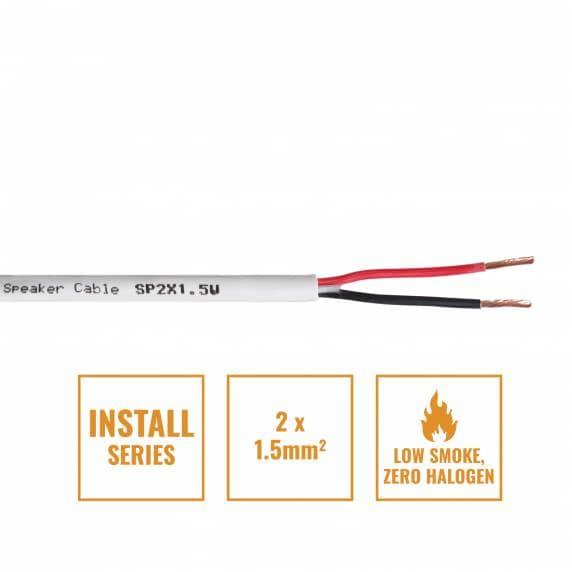 Install Series 2-Core LSZH Speaker Cable, 2 x 1.5mm - Per Metre White