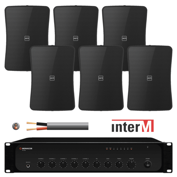 Inter-M 240W Background Music System with 6x 50W Wall Speakers