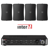 "Inter-M Background Music System with 4x 4"" Wall Speakers (Black)"