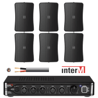 "Inter-M Background Music System with 6x 4"" Wall Speakers (Black)"