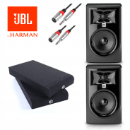 JBL 305P MK 2 Studio Monitors with Isolation Pads & Cables Bundle