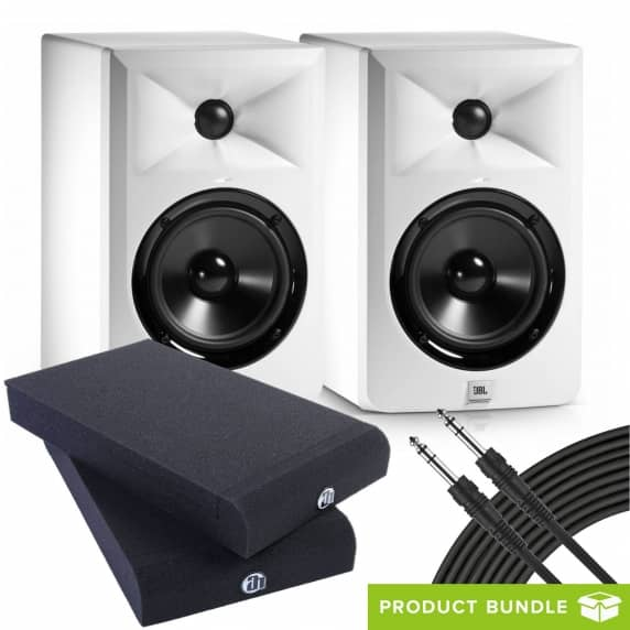JBL LSR305 White Monitors (Pair) with Isolation Pads & Cables