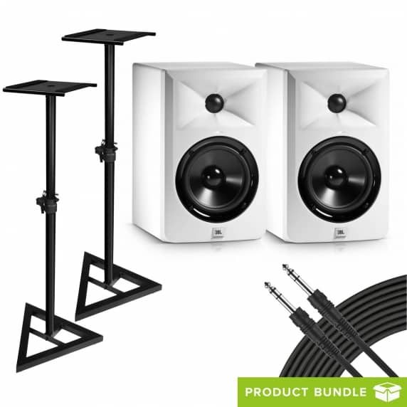 JBL LSR305 White Monitors (Pair) with Stands & Cables