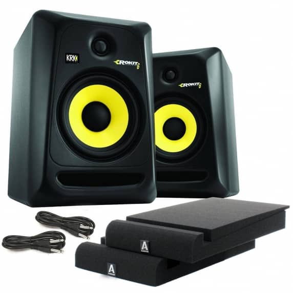 krk rokit rp6 g3 active studio monitors kit audiokraft isolation pads cables. Black Bedroom Furniture Sets. Home Design Ideas