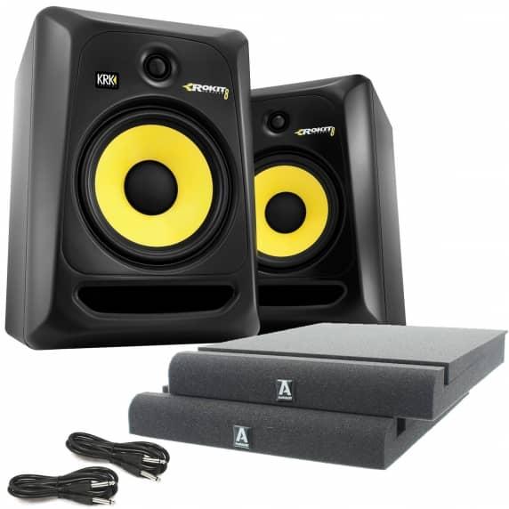 krk rokit rp8 g3 active studio monitors 50 free studio speaker kit. Black Bedroom Furniture Sets. Home Design Ideas