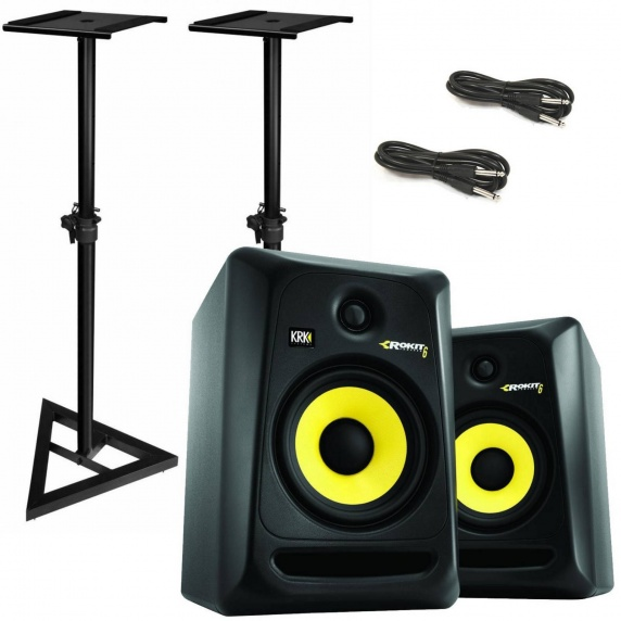 krk rokit rp8 g3 studio monitors plus speaker stands cables. Black Bedroom Furniture Sets. Home Design Ideas