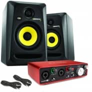 KRK RP5 G3 Studio Monitors, Focusrite Scarlett 2i2 (2nd Gen) & Cables