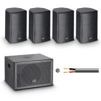 LD Systems SAT 62 + SUB10A Install PA System - 4 Speakers in Black
