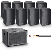 LD Systems SAT 62 + SUB10A Install PA System - 8 Speakers in Black