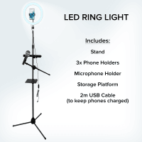 NJS LED Ring Light Tripod Stand with Phone & Microphone Holder