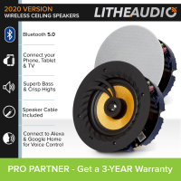 "Lithe Audio 6.5"" Wireless Bluetooth Ceiling Speaker (Pair) - NEW 2021 Version"