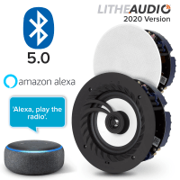 Lithe Audio Bathroom Bluetooth Ceiling Speakers (Pair) + Echo Dot 3rd Gen