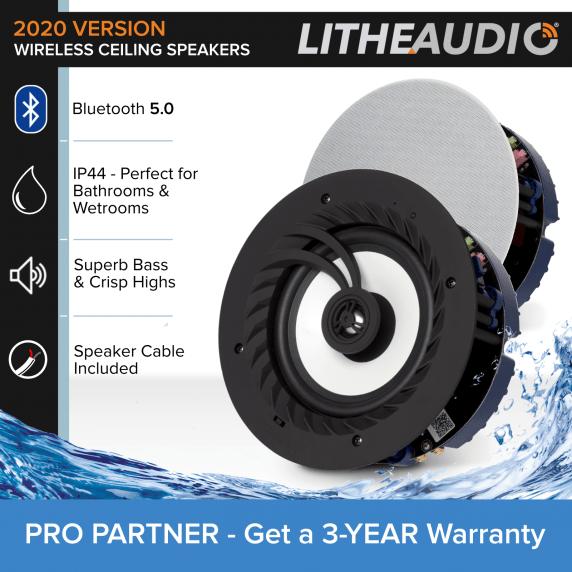 Lithe Audio IP44 Bluetooth Ceiling Speakers (Master & Slave)