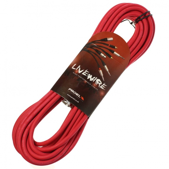 Livewire 10m XLR Microphone Cable - Balanced Male to Female XLR Mic Lead - Red